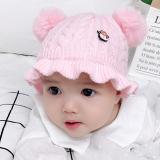 mũ len bông tròn có viền nhún bèo  Size: -0-18 tháng (44-48cm)