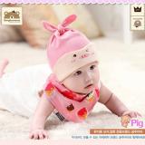 set nón thun+ khăn tam giác hình heo hồng  Size: 6 tháng-2 tuổi
