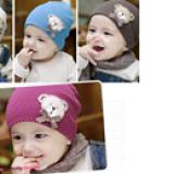 nón thun chấm bi gấu đeo nơ  Size: 3 tháng- 2 tuổi