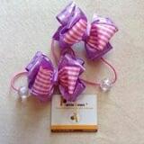 cột tóc nơ tím hồng - Handmade