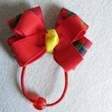 cột tóc nơ xanh đỏ - Handmade