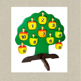 Cây táo học chữ và số Xuất xứ thương hiệu: Việt Nam Chất liệu sản phẩm: Gỗ MDF. Cùng với sơn bề mặt đã được kiểm định về độ an toàn, các bậc phụ huynh có thể hoàn toàn yên tâm về chất lượng và sức khỏe của bé khi sử dụng đồ chơi. Màu sắc rực rỡ kích thích sự phát triển thị giác của bé. Món đồ chơi là công cụ hỗ trợ đắc lực, giúp bé tập làm quen với môn toán, đồng thời phát triển tư duy phán đoán và logic của bé.  Size: 27 x 24 x 28 cm.